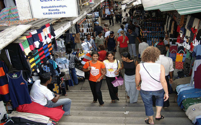Tourists shopping at the Kandy City Center in Kandy