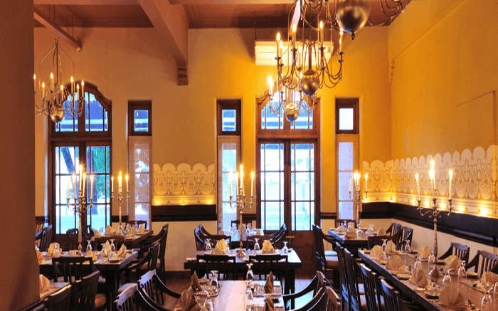 Well decorated interiors of White House Restaurant in Kandy