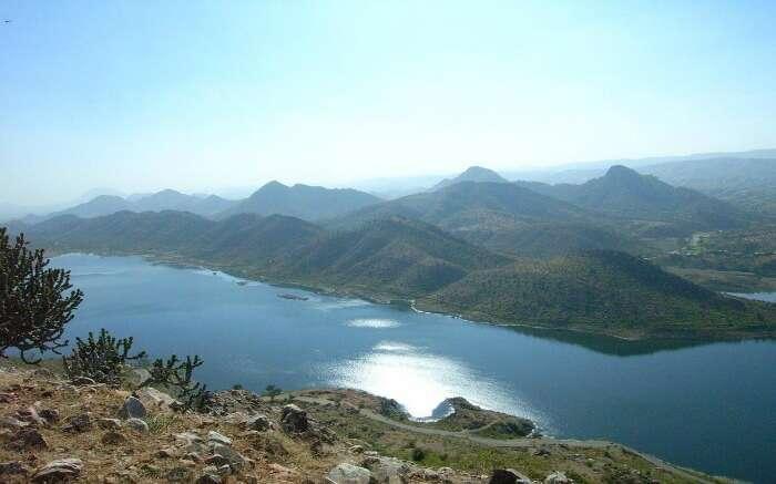 a shining lake in the hills of Nallamala