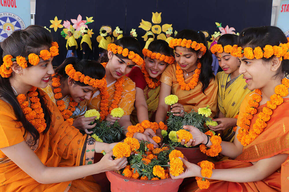 School kids celebrating Basant Panchami