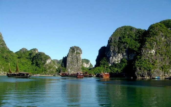 boats sailing on the waters of Halong Bay