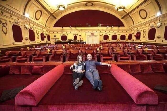 couple watching movie london