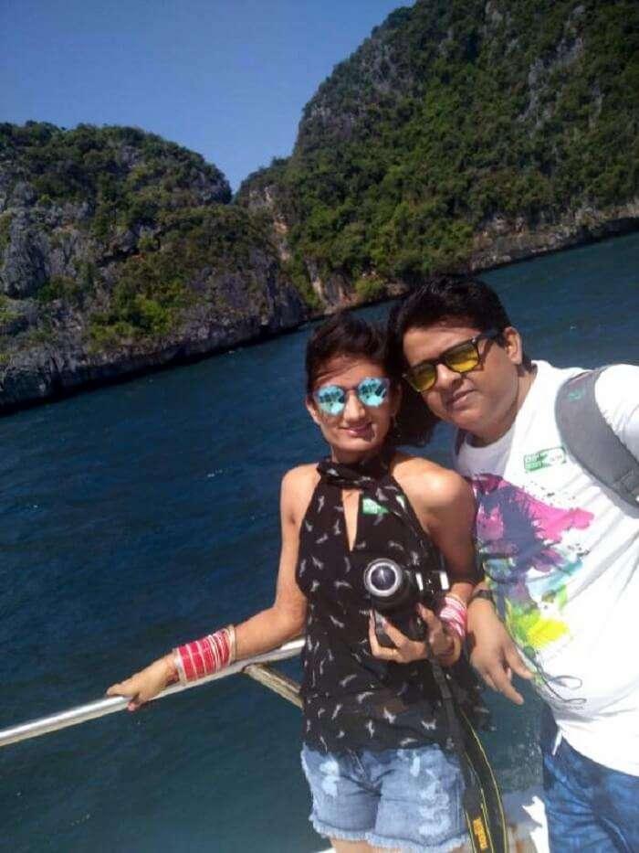 Nilesh and his wife on the phi phi island tour