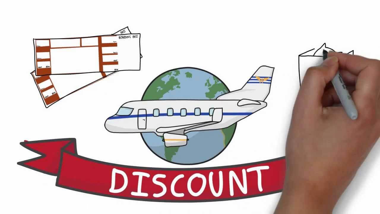 a plane ticket discount graphic