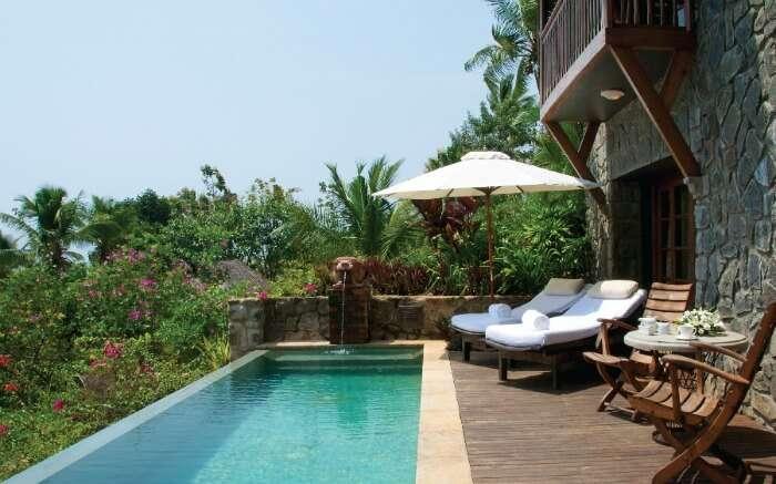infinity pool with gorgeous views in Vivanta by Taj Kovalam