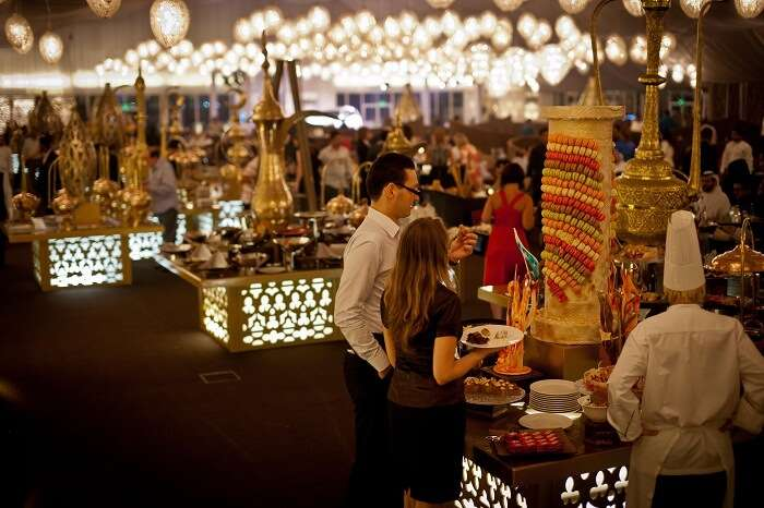 Guests enjoy the Arabian hospitality at Asateer Ramadan Tent at The Atlantis Palm in Dubai