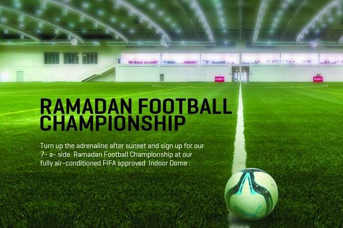 A promotional poster of the Ramadan football tournament in Dubai Sports City