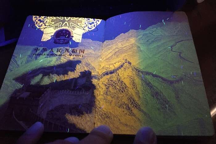 The passport of China when viewed under UV light