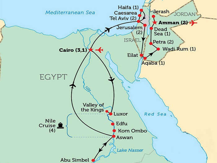 A map of the tourist attractions of Egypt-Israel-Jordan