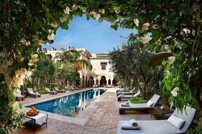 A view of the private swimming pool at the Villa des Orangers Riad in Marrakech in Morocco