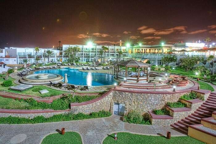 A view of the swimming pool and the surrounding area of the The Casablanca Le Lido Thalasso hotel in Morocco