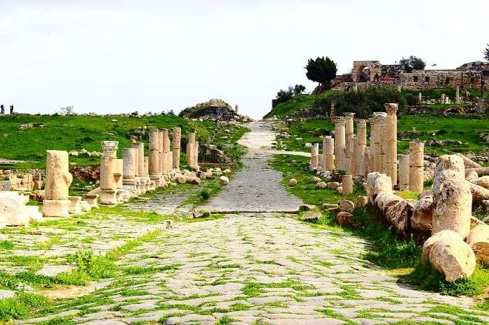 The pathway to Umm Qais in the green Gadara City of Jordan
