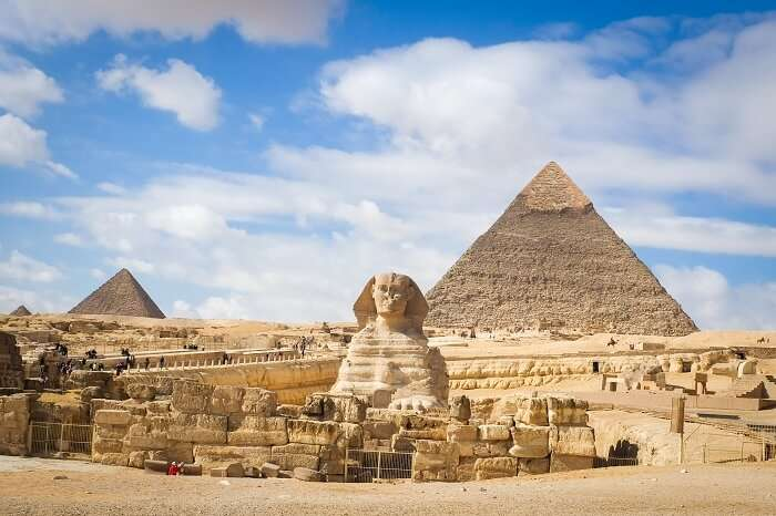 A snap of the pyramids of Sphinix at Giza near Cairo in Egypt