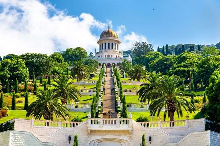 Shrine of the Bab and lower terraces at the Bahai World Center in Haifa city of Israel