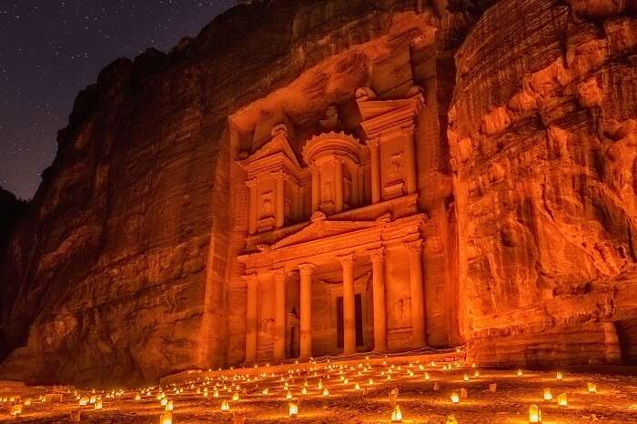 A snap of Al-Khazneh at Petra at night lit by the candlelight of over 1500 candles