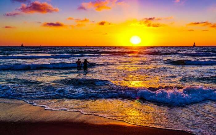 sunset at Herzliya Beach in Israel
