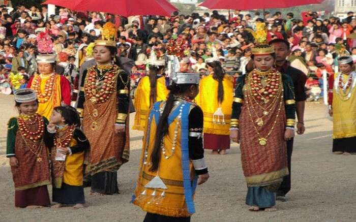women and girls dressed for Ka Pomblang Nongkrem festival