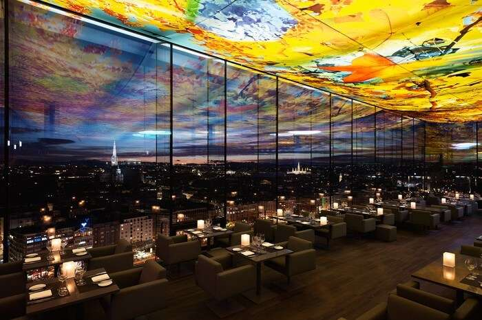 Skyline view from a glass covered restaurant