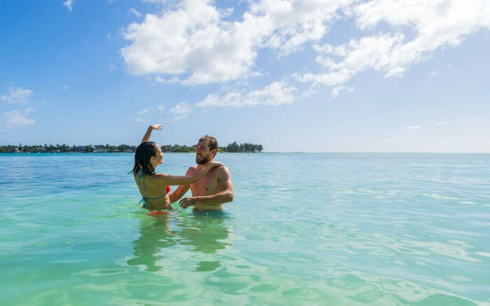 A couple in Mauritius