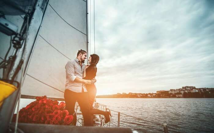 A couple onboard a catamaran