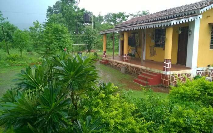 A front view of one of the cottages of Aajol Homestay in Maharashtra