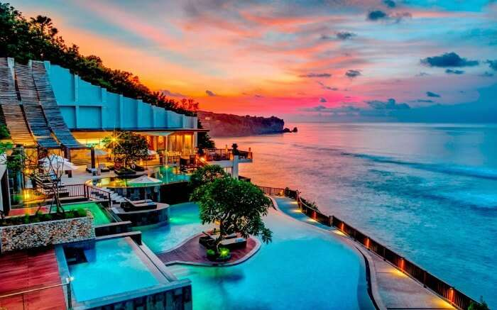 A romantic beach resort in Bali at the time of sunset