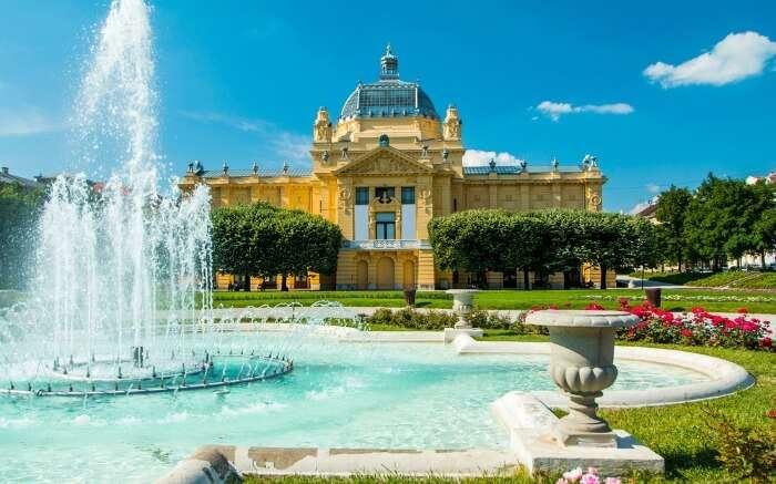 Art pavilion fountain in Zagreb