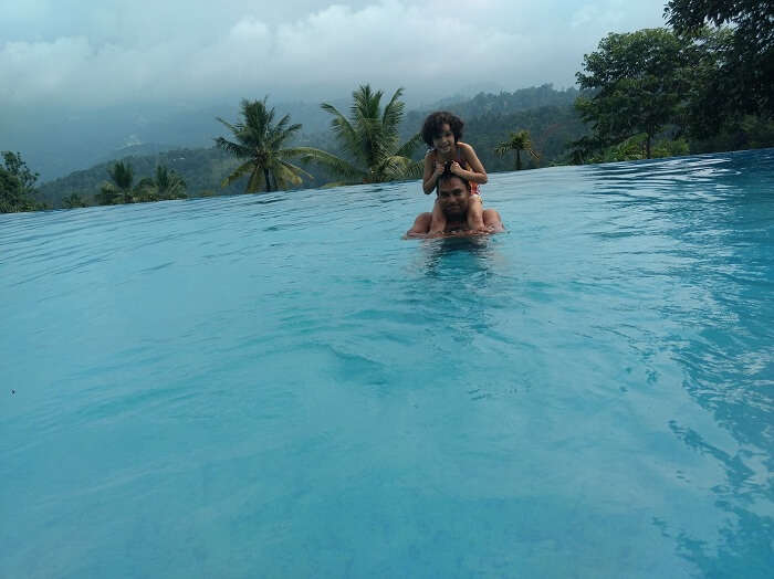 hotel pool in munnar