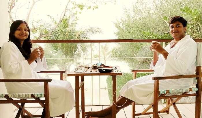 couple after spa massage in maldives