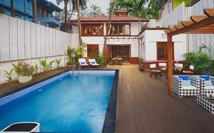 Pool view of Mawi Infinity Villa in Arambol in Goa
