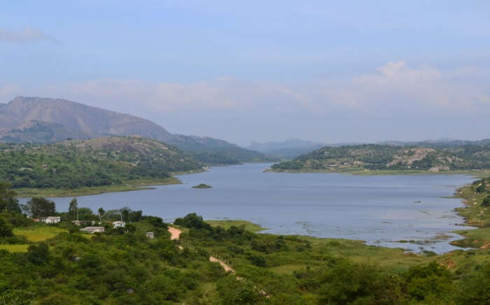Savandurga Hill overlooking a beuatiful lake