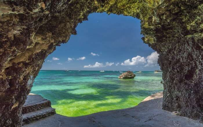 Seaview cave at the white beach of Boracay Island in Philippines