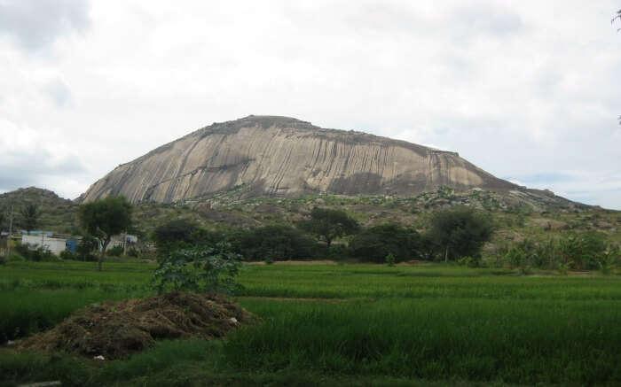 a giant rock hill in Madhugiri