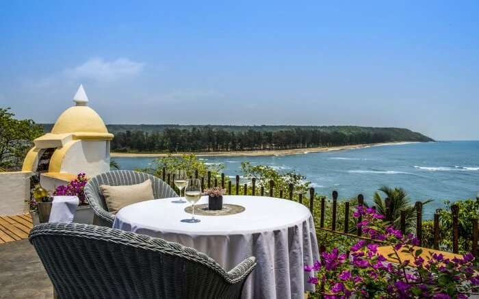 a romantic terrace overlooking the Arabian sea