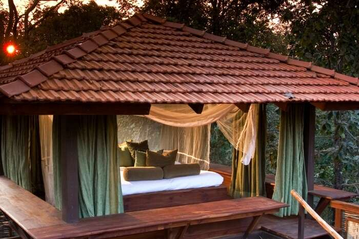 Front view of Baghvan jungle lodge in Pench national park