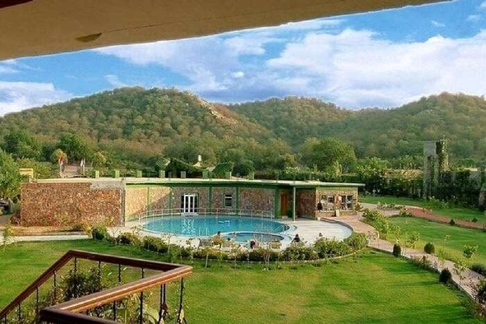 Top view of a jungle resort in Ranthambore