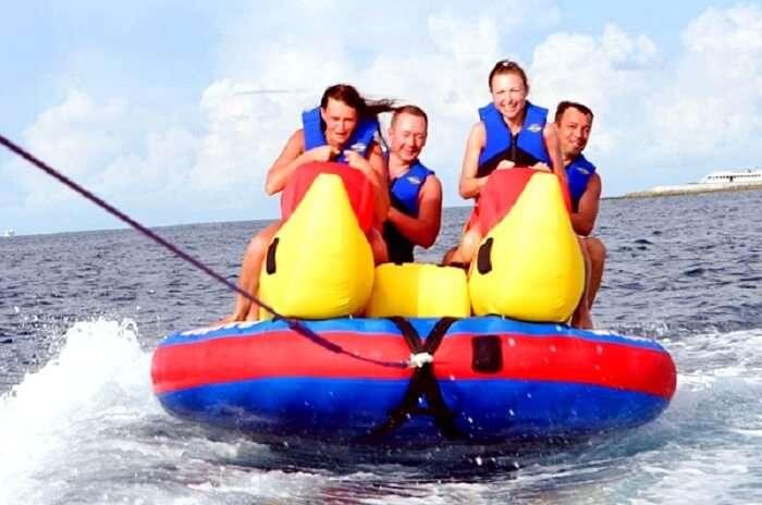 Banana boat ride at Paradise Island