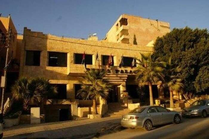 A sunset snap of the Petra Palace Hotel that houses the Wrangler's Pub