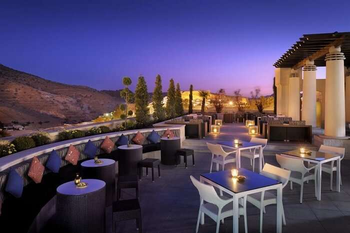 The outdoor dining of Movenpick Hotel of Wadi Musa in Jordan