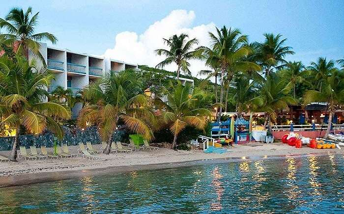 A view of the beach and the building of the Bolongo Bay Beach Resort in US Virgin Islands
