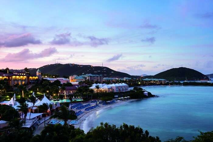 An aerial view of the Ritz Carlton hotel in US Virgin Islands