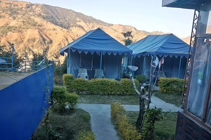 Camps at a resort in the scenic landscape of Chakrata