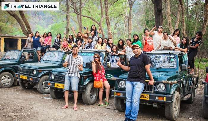 Trip coordinators with a group of girls before the jeep safari in Jim Corbett