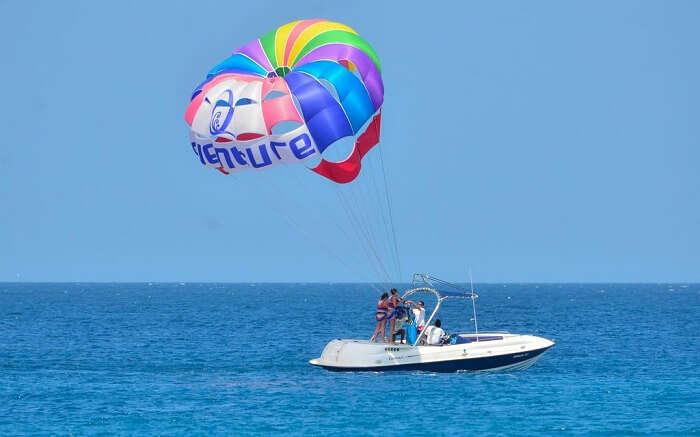 Paradise island and resort parasailing