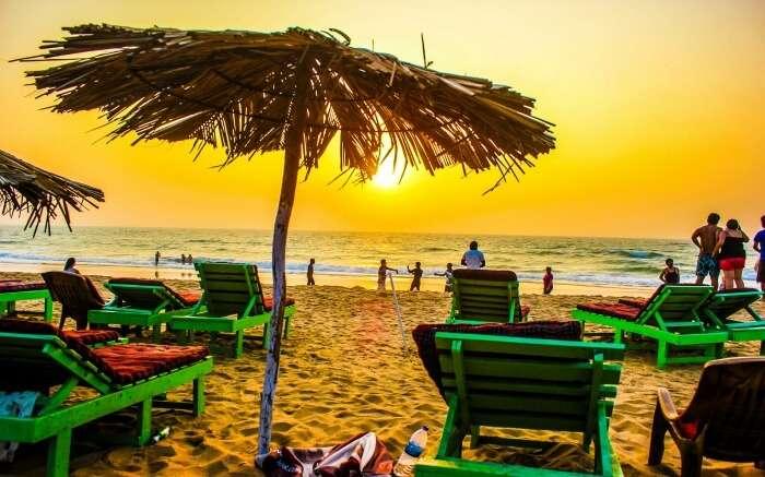 shacks and sundecks on Candolim Beach