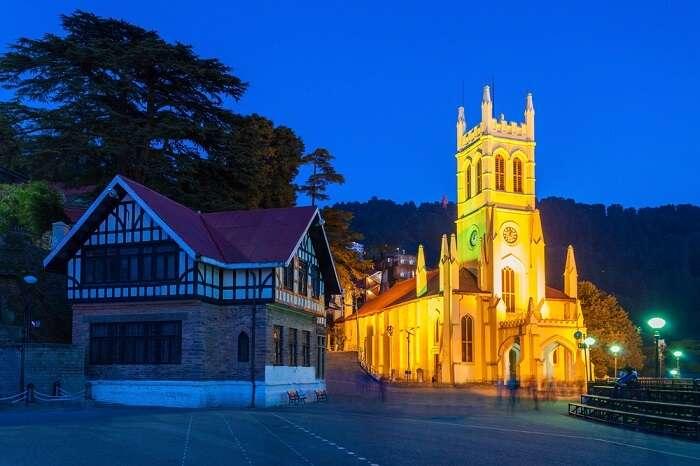 An evening near Christ Church in Shimla