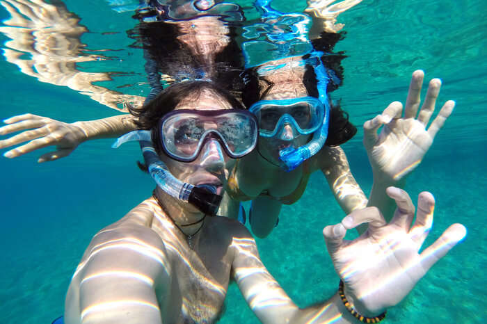 A couple snorkelling