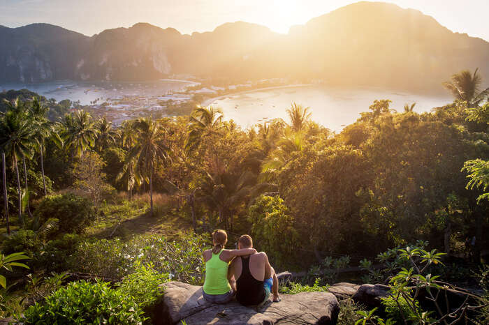 A couple looking at Phi Phi Island