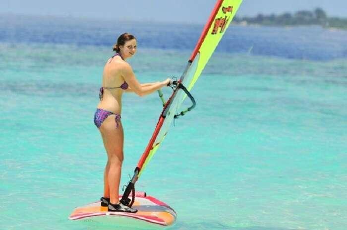 Windsurfing at Paradise island