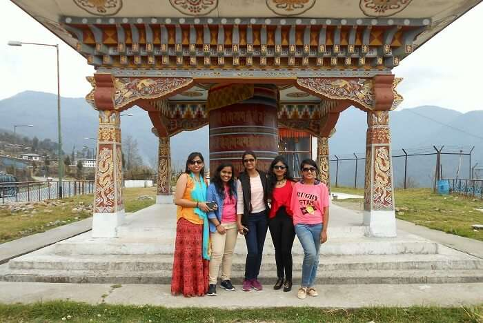 monali n friends hanging out at monastery